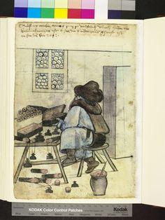 Vlrich Huber makes inkhorns and penners, Mendel Hausbuch (Amb. 317.2, fol. 153v), 1535