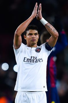Thiago Silva of Paris Saint-Germain FC acknowledges his supporters at the end of the UEFA Champions League group F match between FC Barcelona and Paris Saint-Germanin FC at Camp Nou Stadium on December 10, 2014 in Barcelona, Catalonia.