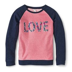 Girls' LOVE Sweatshirt - Pink/Navy