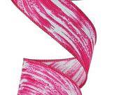 "1.5""Hot Pink/White Swish/Swirl Ribbon - (10 Yards) -  RG1573WT"