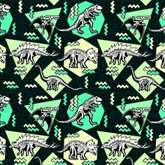 Dinosaur Skeleton Neon Pattern Comforters by chobopop - Queen: x Wall Patterns, Textures Patterns, Print Patterns, Wallpaper Patterns, Sewing Patterns, Dinosaur Skeleton, Dinosaur Art, Dinosaur Prints, 90s Pattern