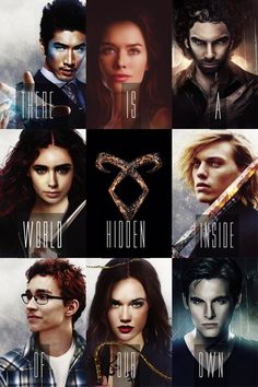 "THE MORTAL INSTRUMENTS: City of Bones by Cassandra Clare| ""There is a world hidden inside of our own."" Magnus Bane (Warlock), Jocelyn Fairchild/Morgenstern (Nephilim), Luke Garroway (Werewolf), Clary Fairchild/Morgenstern (Nephilim), Angelic Rune, Jace Herondale (Nephilim), Simon Lewis (Mundane), Isabelle Lightwood (Nephilim) & Alec Lightwood (Nephilim)."