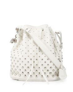 V221C Alexander McQueen Studded Padlock Bucket Bag, White