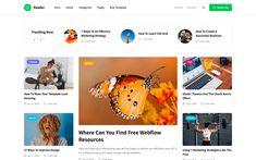 4. Reader – Blog Website Template Web Design Tools, Tool Design, Responsive Slider, Blog Websites, Magazine Website, Ui Kit, Web Design Inspiration, Website Template, Templates