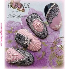Very seductive Lace Nail Art, Nail Art 3d, Lace Nails, 3d Nails, Flower Nails, Cool Nail Art, Pink Nails, Sexy Nails, Nail Nail