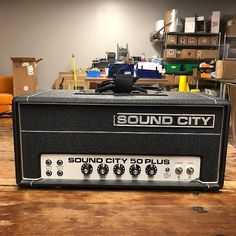 Sound City 50 Plus. Serial # it weren't for the cracked logo this amp would be in excellent condition. Recently replaced treble pot and Bluegrass Music, Cool Gear, Vintage Rock, Vintage Guitars, Marshall Speaker, Time Out, Guitar Amp, Cool Tones, Rigs
