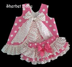 Hot Pink Polka Dots Ruffled Pinafore Set Sassy by SherbetBaby, $68.00