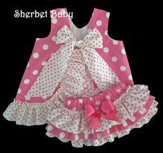 Hot Pink Polka Dots Ruffled Pinafore Set Sassy Pants Ruffle Diaper Cover Bloomer