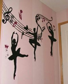 Jossells new room .Doing Belles room in a ballerina theme. Would love to find decals like this Dance Bedroom, Ballet Nursery, Ballerina Bedroom, Dance Rooms, Girls Bedroom, Bedrooms, Bedroom Murals, Bedroom Themes, Bedroom Ideas