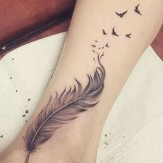 Grey Ink Feather With Flying Birds Tattoo Design For Ankle