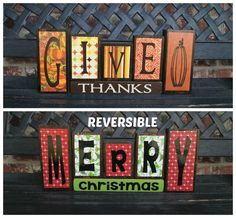 Reversible Christmas and Thanksgiving wood blocks-Give thanks reverses with Merry Christmas