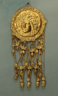 Gold Pendant Disc with Head of Goddess Athena, 400-350 BCE