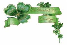 Happy St. Patrick's Day Greetings banner with shamrocks
