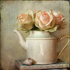 6x6 Print Vintage Tea Pot with Pink Roses Textured Still Life