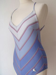 Vintage Swimsuit  Blue 1970's Chevron von PaperdollVintageShop, €19,90