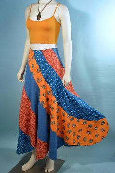 "Vintage 70s Floral Patchwork Hippie Boho Flare Midi Skirt/ Calico Print Bohemian Festival Skirt/ Gypsy Bias Cut Flare Skirt 25"" Waist"