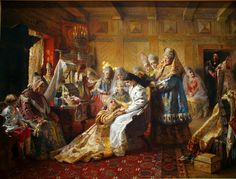 In 1889, Russian painter Konstantin Makovsky painted a portrait of a bride surrounded by tradition and scrutiny.   (Incredible detail, the wedding gown is draped over a chair to the right with shoes below)