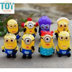 Find More Action & Toy Figures Information about New 8 PCS Minions Purple Despicable Me 2 PVC Movie Figures Doll Kids Toys 3D Eye Gifts 4 6cm…
