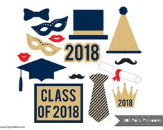 Graduation Photobooth Props, 2018 Grad Party Printables, Class of 2018 photo booth props, Printable Props, navy blue and gold glitter