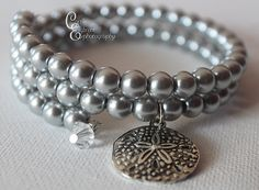Glam Gray Pearl Beaded Bracelet with Sand by CarriesCreativeChaos, $30.00 #Beachlover