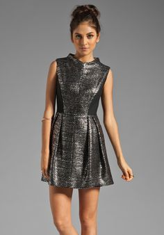 Milly Silver Laminated Tweed Cleo Funnel Neck Dress in Black