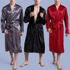 95b4988fa0 Fashion Men s Silk Satin Sleepwear Long Sleeve Pajamas Robes Nightwear Plus  Size  Fashion  Long