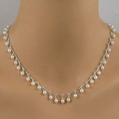 This lovely white pearl necklace is made with white Swarovski pearls and sterling silver scalloped chain, with a sterling silver clasp. White Pearl Necklace, Cultured Pearl Necklace, Pearl Jewelry, Wire Jewelry, Jewelry Crafts, Beaded Jewelry, Jewelery, Jewelry Necklaces, Handmade Jewelry
