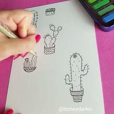 cactus doodles by @honeydarko