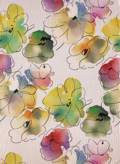 Dress fabric, by F. France, This would make a pretty card with pen and ink + watercolor. Watercolor Fabric, Watercolor Projects, Pen And Watercolor, Abstract Watercolor, Watercolour Painting, Watercolor Flowers, Painting & Drawing, Watercolors, Happy Paintings