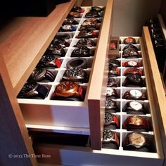The Time Bum: How To Make a Watch Drawer  I can only imagine having a big collection like this..