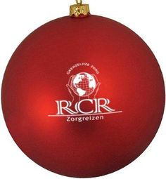Bedrukte kerstbal, rood, met RCR logo, in 1 kleur