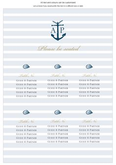 Seating Plan - Nautical - by Invitation Gallery