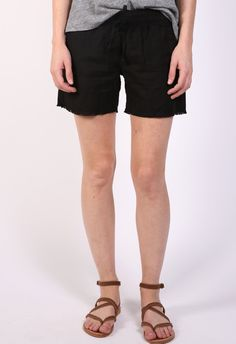 The Lady & The Sailor Rouched Drawstring Short in Black