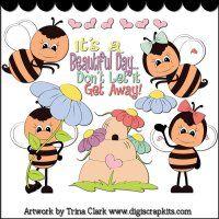 Spring Bees 1 Clip Art