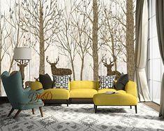 """Woodland murale, revêtements muraux, arbre marron sur Grain mur, bois peint, la Nature forêt avec Cerf, Stickers muraux, Stickers muraux-126 """"x 79"""""""