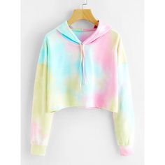 Tie Dye Drop Shoulder Crop Hoodie (46 BRL) ❤ liked on Polyvore featuring tops, hoodies, multicolor, pullover hoodie, long sleeve crop top, white hoodie, pullover hoodies and cropped pullover hoodie