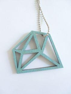 Statement Ketten - Kette lang-Kristall-mintgrün-geometrischer Schmuck - ein Designerstück von Kluenck bei DaWanda