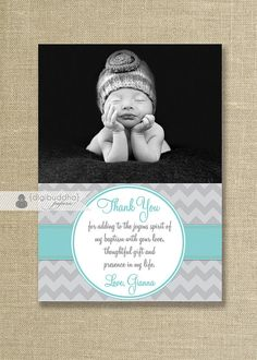 Photo Baptism Thank You Card Christening by digibuddhaPaperie Baby Baptism, Baptism Party, Baptism Ideas, Baptism Thank You Cards, Christening Photos, Thank You Photos, Grey Chevron, Thoughtful Gifts, Event Ideas