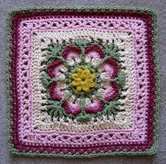 Indian Paintbrush granny square - link to paid crochet pattern