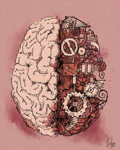 Steampunk Brain by BenJogan Brain Drawing, Brain Art, The Brain, Arte Com Grey's Anatomy, Anatomy Art, Steampunk Kunst, Human Heart Tattoo, Brain Illustration, Medical Wallpaper