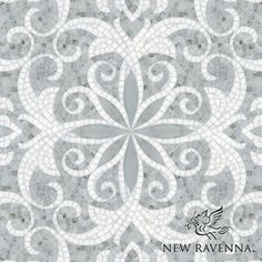 Arabella, a natural stone waterjet and hand cut mosaic shown in Carrara and polished Thassos, is part of the Silk Road Collection by Sara Baldwin for New Ravenna Mosaics.