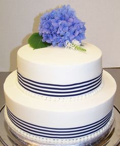 Navy Blue striped ribbon cake for a Cape Cod  wedding by Kiss Me Cakes.