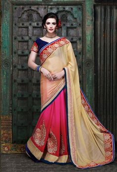 Cream & Pink Georgette Embroidered Saree With Velvet Blouse