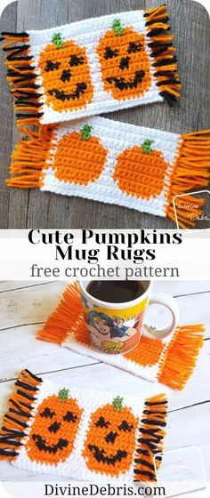 Learn to make the Cute Pumpkins Mug Rugs from 2 free tapestry crochet patterns by DivineDebris.com Crochet Fall Decor, Crochet Decoration, Holiday Crochet, Crochet Home, Free Crochet, Crochet Coaster, Tapestry Crochet Patterns, Mug Rug Patterns, Crab Stitch