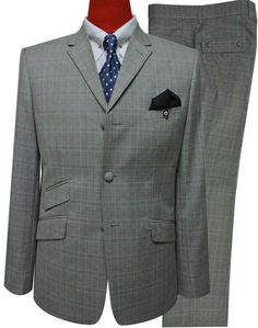 grey prince of wales check suit for men,tailored fashion men mod slim fit 3 button suit,modshopping suit Mod Fashion, 1960s Fashion, Grey Fashion, Prince Of Wales Suit, 3 Button Suit, Mod Suits, Checked Suit, Suit Fabric, Pattern Fashion