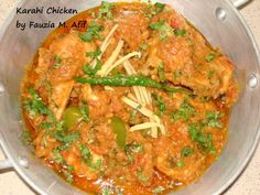 Chicken Karahi: A lovely simple spicy chicken dish, that is mainly flavoured by fresh chopped tomatoes and ginger. I love adding capsicum/pepper in this dish too, it adds to the wonderful aroma and gives a fantastic yummy finish.