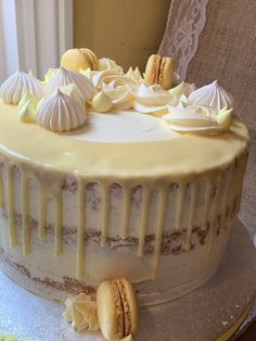 Lemon drip semi naked cake Tiramisu, Bakery, Lemon, Ethnic Recipes, Desserts, Food, Tailgate Desserts, Deserts, Essen