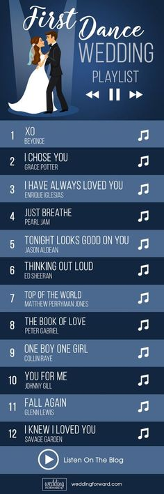 40 First Dance Wedding Songs: Modern & Classic Ideas ? The first dance wedding songs playlist is a help for choice the first dance between a bride and groom as the newlyweds, which is often the first Wedding Party Dance Songs, Wedding Song Playlist, Wedding Music, Dream Wedding, Wedding First Dance, Music Party, Wedding Parties, Space Wedding, Wedding Reception