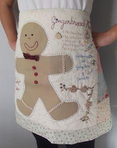 Delantal navideño. Gingerbread Appliqued Apron