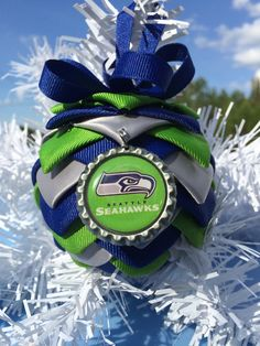 Seattle seahawks inspired folded ornament bottle cap charm you will love it